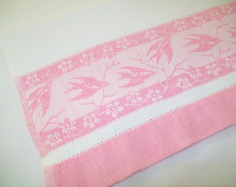 VIntage Cannon Towel, kitchen, bath, birds, pink, white, tea towel