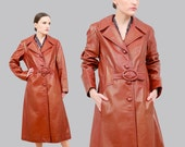 Vintage Style Coats, Jackets, Faux Fur, Tweed SALE 70s Brown Leather Trench Coat  size M L  Belted Duster Jacket 1970s Long Leather Spy Mid Length Jacket Rust Brown  Medium Large $48.00 AT vintagedancer.com