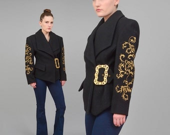 Vintage 80s Black Wool Coat Metallic Gold BAROQUE Short Coat 1980s Embroidered Blazer Oversize Ornate Buckle Belted Jacket Small XS S