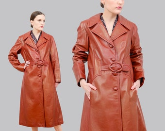Vintage Brown Leather Trench Coat, 70s Belted Coat, Duster Jacket, 1970s Long Leather Jacket, Medium Large M L