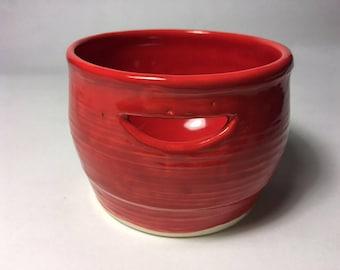 red ceramic egg separator