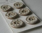 textured white handmade stoneware ceramic buttons