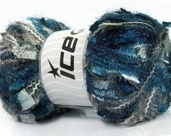Ice Angelo #41307 Greys White Blues Metallic Butterfly Eyelash Yarn LG 100gr skein 109 yards