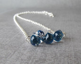 Cyan Sparkle Blue Necklace, Sterling Silver Necklace Blue, Blue Lampwork Necklace Silver, Blue Glass Drop Necklace, Blue Layering Necklace