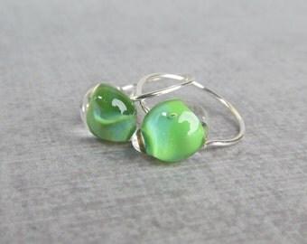 Leaf Green Small Hoops, Small Green Earrings, Lampwork Earrings Green, Earrings Silver Wire Hoops, Lightweight Hoops, Sterling Silver Hoops