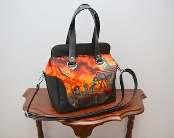 Aster handbag in Alexander Henry's Zombie Drive-in Apocalypse and black vinyl with optional cross body strap