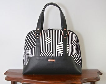 Boronia Bowler Handbag in Libs Elliot Heartbreaker in black with black vinyl and copper hardware