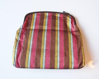 Kimono Handbag Striped Pouch Bag Cosmetic Bag Japanese Bag