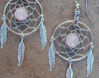 ON SALE Dream catcher earrings with Rose quartz also known as the Love stone