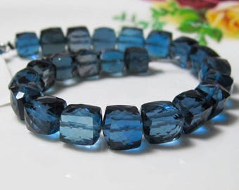 "3"" Strand - AAA Outrangeous London Blue TOPAZ Faceted Cube Beads - 11 Beads"