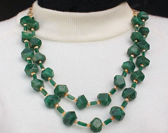 Chunky Green Gemstone Necklace, Double Strand Aventurine Necklace, Green Jewelry