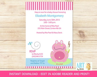 Cute Pink Frog Spring Girl Baby Shower Invitatons, DIY Invitations Editable Text   INSTANT DOWNLOAD Print your Own