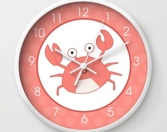 Coral Crab Under the Sea Bathroom or Nursery Wall Clock, White Frame