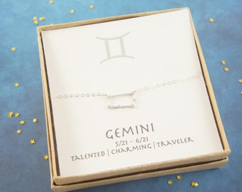 silver zodiac Gemini necklace, April May birthday gift, custom personalized, gift for women girl, minimalist, simple necklace, layered