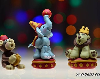 Circus Animal Cake Toppers, Circus Animal Figurines, Circus Elephant, Circus Lion, Circus Monkey, Hand sculpted Polymer Clay