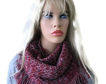 Fringe winter infinity scarf-Unisex textured knit cowl- Dark red, gray and white-Unisex scarf for men and women