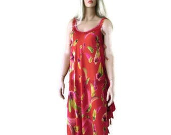 Take me to Santorini- Red Feather print  voile summer dress with fringes-Long  dress/pareo/Cruise/vacation fashion-Tall length,Hi-Low hem