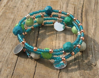 Seaside Shimmer Coil Bracelet - Teal Blue with Copper Accents - Bohemian Gypsy - One Size Fits Most - Ocean Nautical - Chunky Beaded Bangle