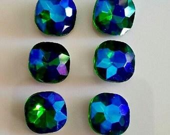 4 12mm  Fern Green  Glacier Blue Crystal Cushion Cut Square Stones
