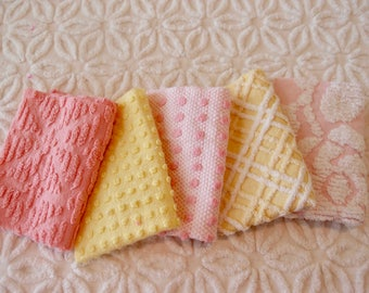"Vintage Chenille Fabric Mini Sets - Pink & Yellow - Five 12"" x 18"" pieces - 100-405"