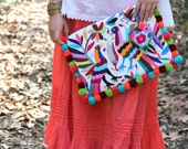 Otomi Multi colored clutch with pompoms and hand embroidered tassels