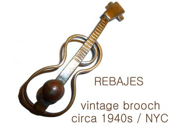 Early Vintage Rebajes Modernist Guitar Brooch. Three Inch Copper Pin. Signed Circa 1940s / NYC.