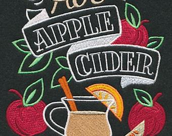 Hot Apple Cider Black Cotton Kitchen Tea Towel