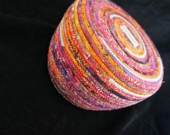 Large Pink, Purple and Orange Fabric Basket