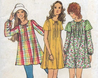 Uncut, Misses Size 8, Vintage 1970s Sewing Pattern, Simplicity 5064, Mini Tent Dress, Smock, Tunic Top, Tucked Front, Tucks, Gathers, Ties,