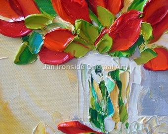 Red Tulip painting, Oil painting , red flowers , original painting , fine art,valentines