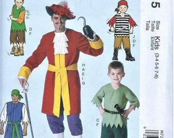 UNCUT McCall's Craft Pattern M7215 - Halloween Pirate Costumes -  Size Kids (3-4-5-6-7-8)