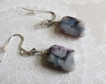 One of a Kind Crazy Purple Lace Agate Swarovski Crystal Sterling Silver Earrings on Etsy by APURPLEPALM
