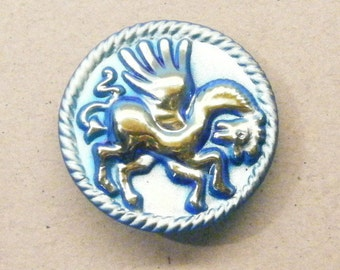 Pegasus button, winged horse, glass button, animal button, large button, ANIMAL CHARITY DONATION