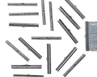 150pcs.  50mm  (2 inch)  Gunmetal Ribbon Clamp End Crimps - Artisan Series