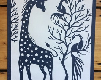 Giraffe and Birds - Orginal Papercut Art