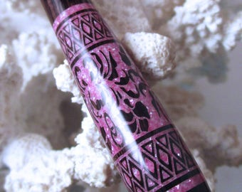 "The ""Petite Chloe"" Botanic Border Hair Stick Featuring African Blackwood inlaid with Rose Fresh Water Pearls"