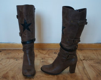 Brown Black Star Patch Leather Buckle Tall Boot