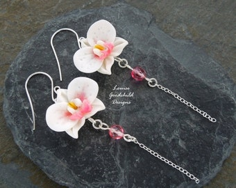 ON SALE Orchid Drop earrings, white orchid earrings, pink and white orchids, flower earrings, sterling silver, orchid jewelry