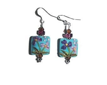 Lampwork Earrings Lampwork Blue Flower Earrings Feminine Earrings Nature Whimsical