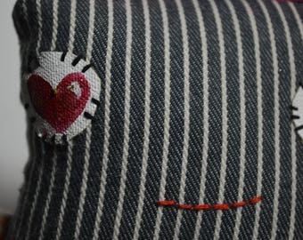 Square Dude with ears Plush Toy, in Upcycled stripped denim and heart pocket