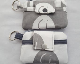 Zipper Mini Wallet Pouch Key Chain Card holder - White with Grey Elephants or Grey with White Elephants