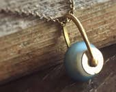 Simplicity Necklace - Perfectly Luminous and Balanced Pendant on Antique Brass Chain in China Blue