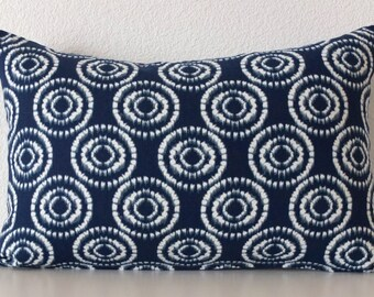 Pillow Cover - Blue - Navy - circles - Ikat Circles - 12x18 - Cushion Cover - Decor lumbar pillow cover