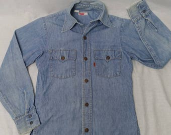 Vintage LEVI'S Western ORANGE TAB Button Chambray Cotton Shirt 70's Denim Jeans Sz-S 1970's