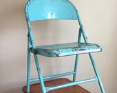 Mid Century Aqua Blue Durham Mfg. Co Metal Folding Chair. Muncie, Indiana.