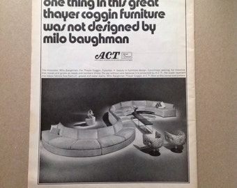 Vintage 1970s Milo Baughman Thayer Coggin Advertisement / Advert / Ad