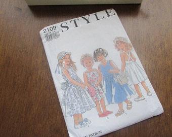 Girl's Sundress Pattern – Style 2109 – Size 3 - 8 - 1991 Original Uncut Sewing Pattern – Vintage Sewing Pattern for Little Girl's Dress