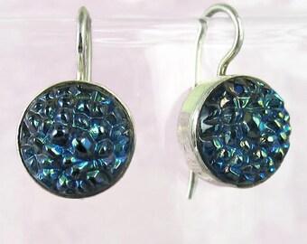 Blue Silver Earrings Sterling Silver Vintage Glass Drop Earrings 374