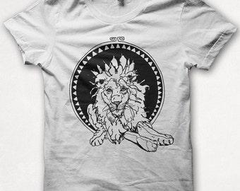 Womens Tshirt, Lion Tshirt, Lion Shirt, Graphic Tee, Forest and Fin, Screenprint - White