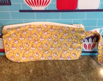 Handmade zippered wristlet.  Yellow ballet ballerina dancer purse.  Fully lined.